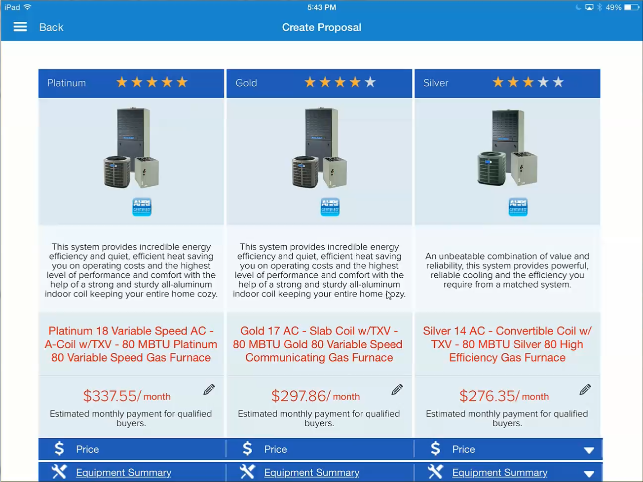 HVAC Equipment Proposals Ipad app