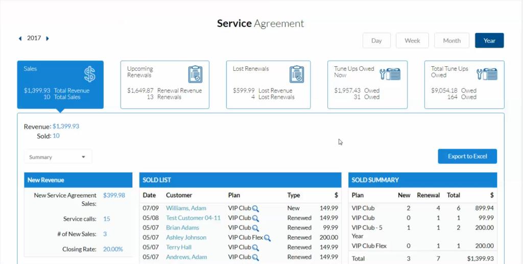 Ipad app HVAC Service Agreement Report