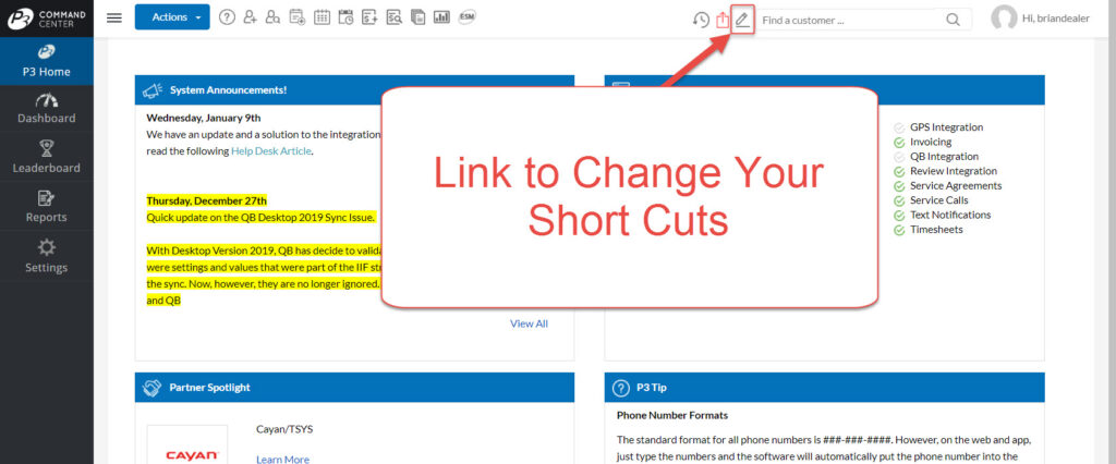 The Short Cut edit button can be located in the top tool bar of the P3 HVAC Software