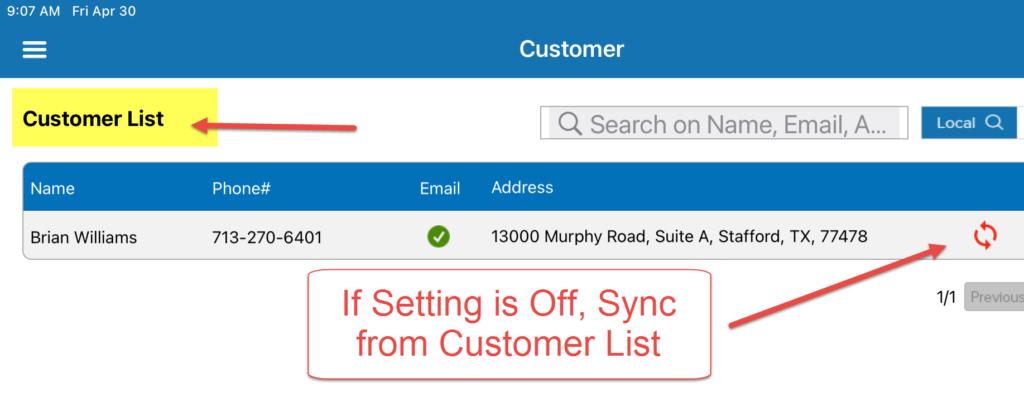 HVAC App - Sync from Customer List