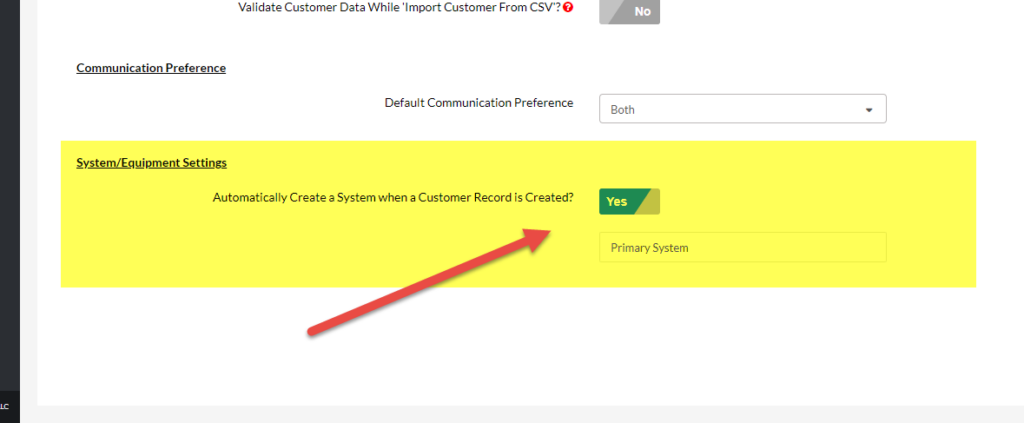 Customer Setting to Automatically Create a New System