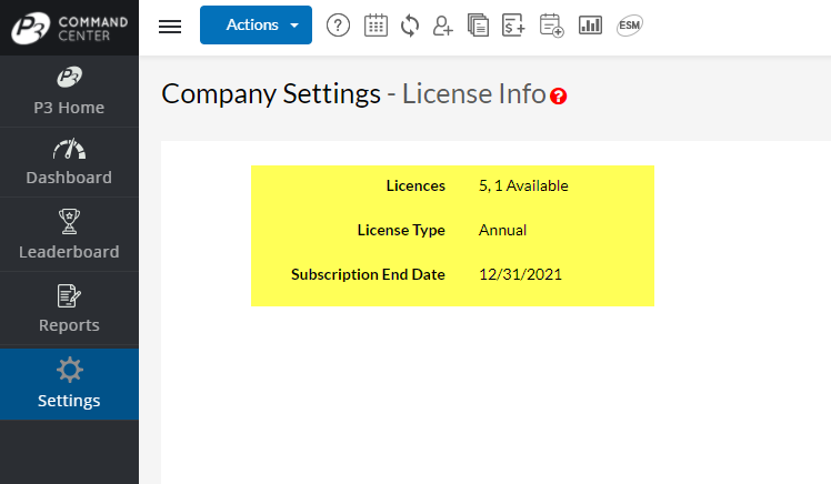 Example Annual License Information