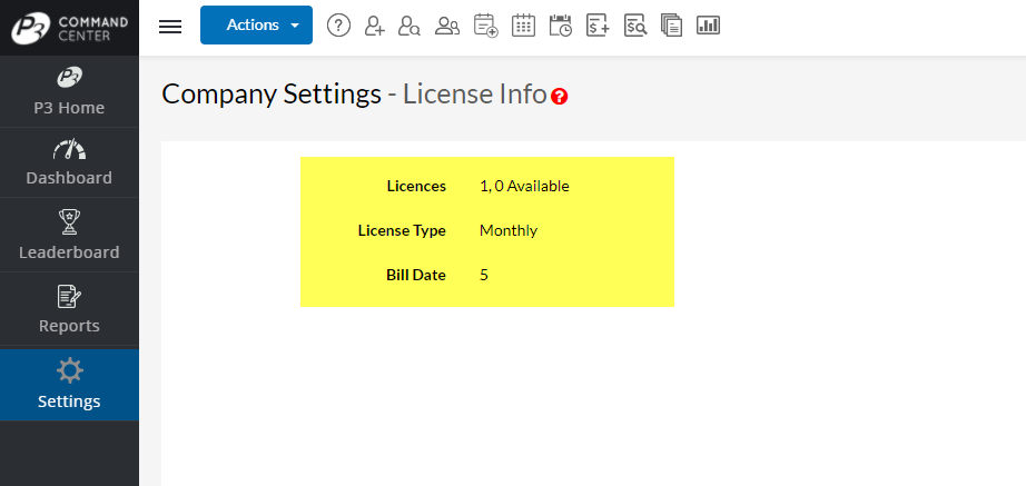 Example Monthly License Information