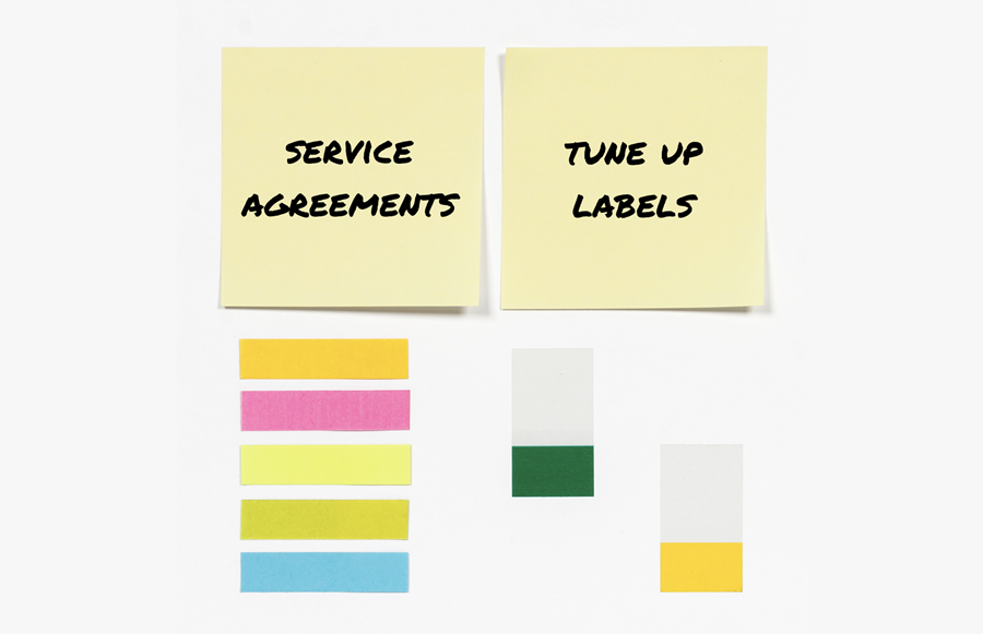 HVAC Service Agreement Tune Up Labels