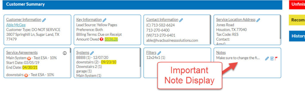 Note Displays in New Service Call
