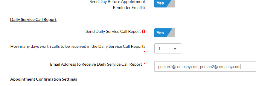 Determine who receives the daily report