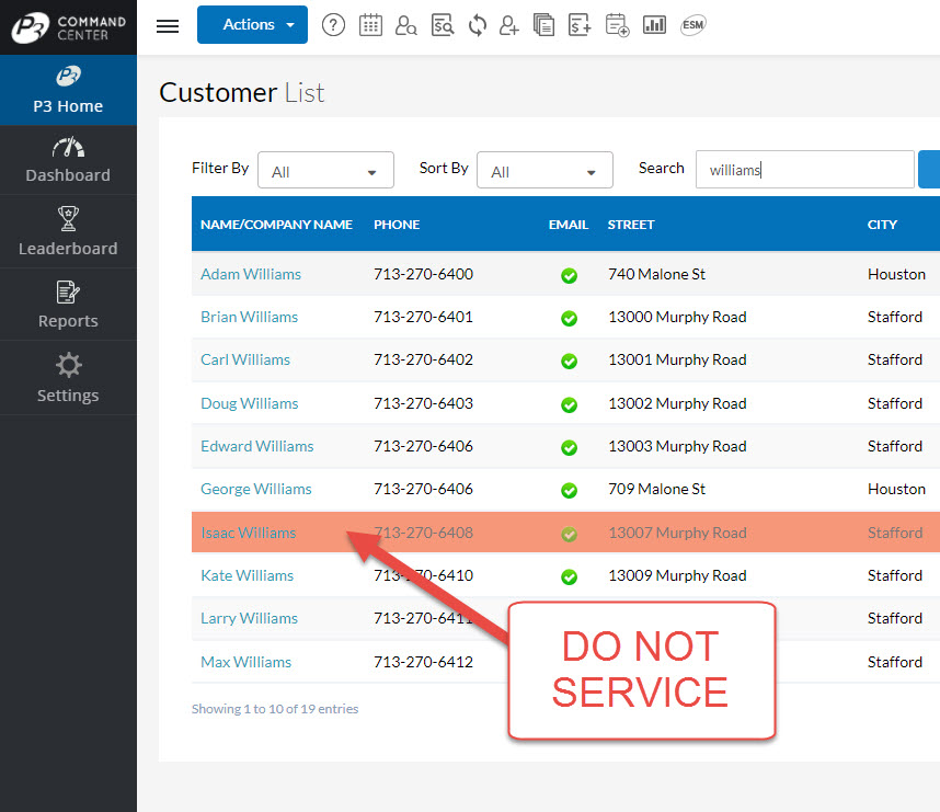 How the Customer List Shows a Do Not Service Customer