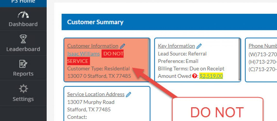 How the Create New Service Call Page Indicates a Customer is Do Not Service