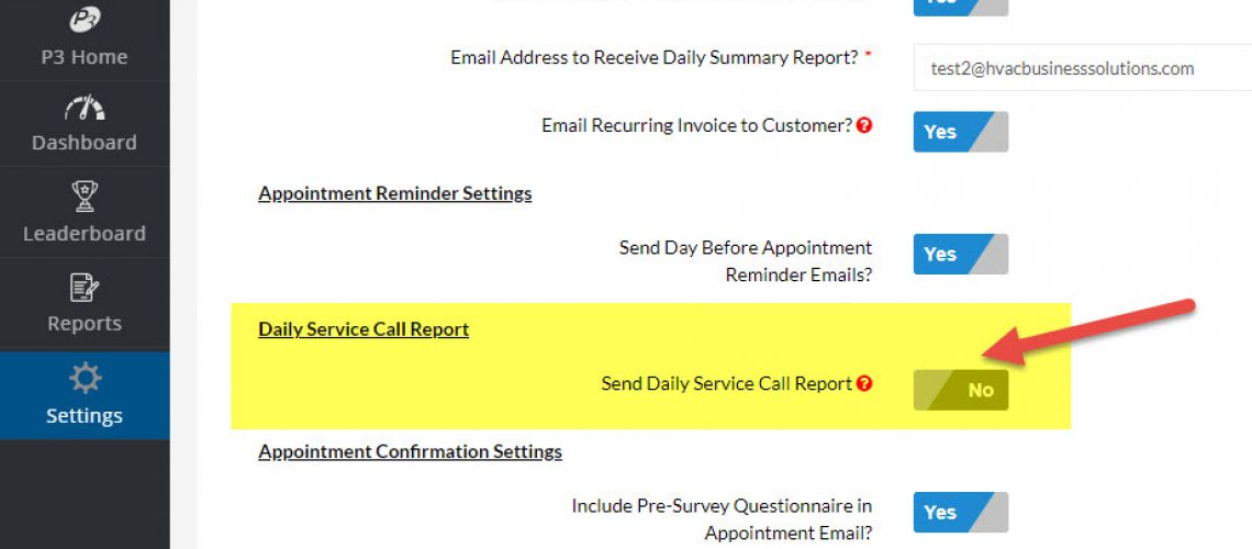 HVAC Dispatching Setting - Daily Service Call Report